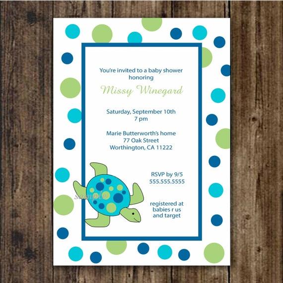 Sea Turtle Wedding Invitations: Items Similar To Sea Turtle Baby Shower Invitation / Print