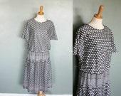 20 Dollar Sale Vintage 80s GEOMETRIC Day Dress - Black and White - Deadstock - Women XL Plus Size