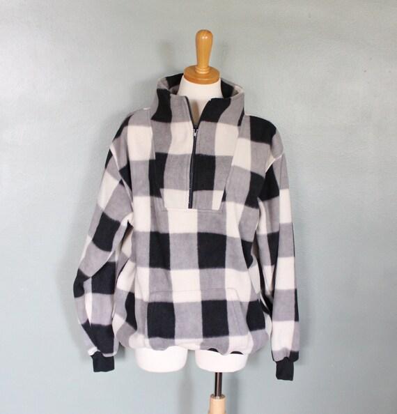 Vintage 80s Buffalo Plaid Fleece Jacket - Men L Women XL