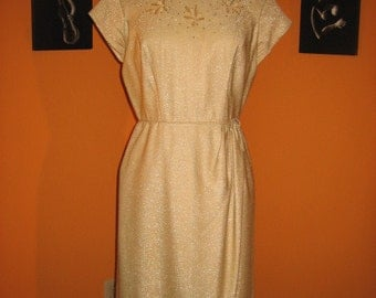 Original 50s Gold Lame Lurex Wiggle Dress