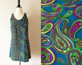 1960s blue green paisley print mod mini a line scooter dress xs
