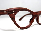 Vintage 60s Cat Eye Eyeglasses. Faux Bois Wood Look Cat Eye Frames