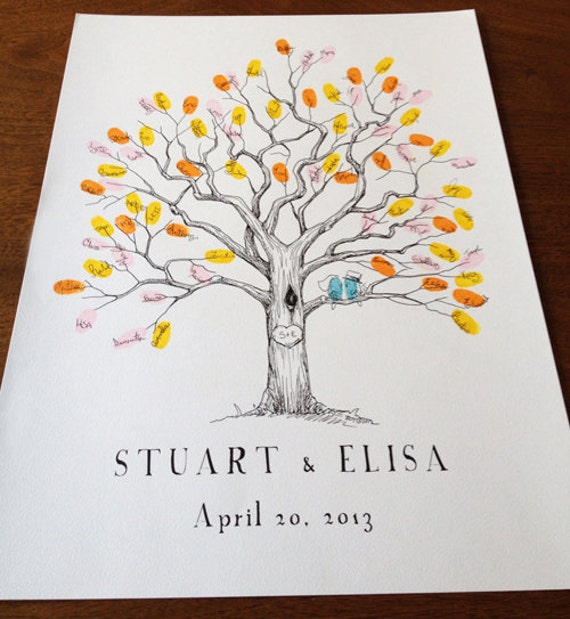 Small Fingerprint Live Oak Tree Wedding Guest Book Hand Drawn: Fingerprint Tree Wedding Guest Book Alternative By Bleudetoi