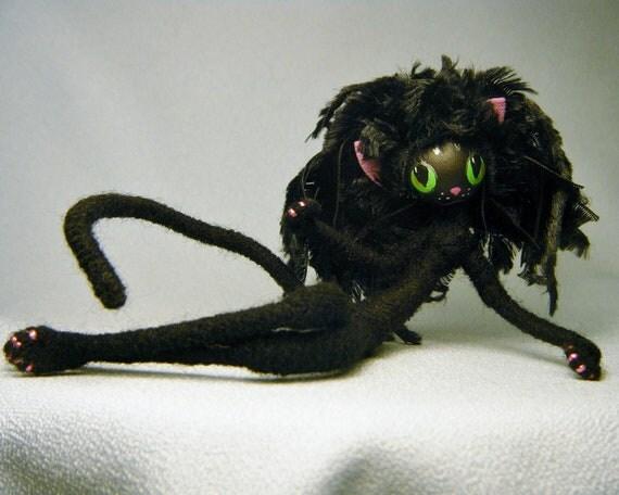 Black Halloween CAT ooak Art Doll Goth Kitty Familiar