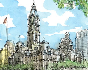 Philadelphia City Hall art print from an original watercolor painting