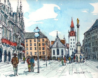 Munich art  print from an  original watercolor painting