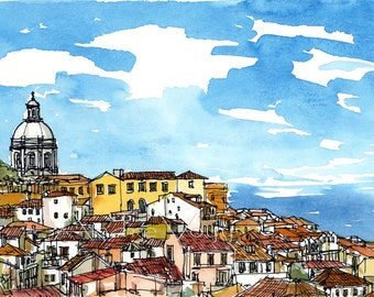 Lisbon Lisboa Portugal art print from an original watercolor painting