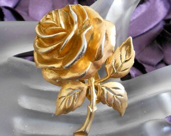 1940's Gold Brass Rose Dress Clip