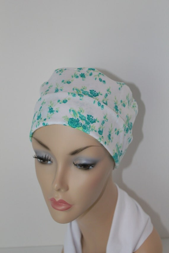 Chemo Hat Cancer Cap Sleep Alopecia Hair Loss Soft Cotton Green Flowers Jersey Knit  Women Free Ship in USA