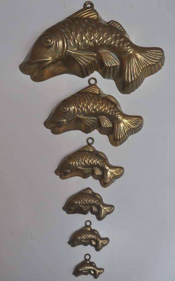 Fabulous Set of Brass Fish Molds for Wall Hanging