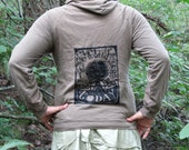 Brown Hoodie - Even if the World Ended Tommorrow, I Would Still Plant a Tree Today, Medium - screenprint punk art pullover pocket hoody