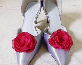Shoe Clips in Bright Pink Chiffon