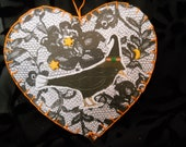 For Stacy  Black Crow in Witchs Hat NOT QUITE RIGHT Halloween heart