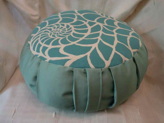 Zafu Meditation pillow, the color of a beautiful sea with a spiral shell design