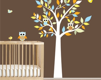 Kids Vinyl Wall Decal Tree Nursery Tree Decals with Owls Birds nursery decals stickers