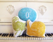 Spring Animal Pillow Set. Hand Woodblock Printed. Save 20 Percent.