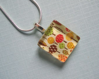 Small Trees Print Glass Pendant with Silver Chain Necklace