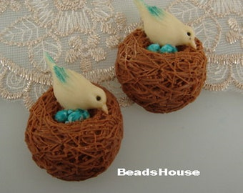 810-00-CA  2Pcs  Lovely Resin Bird Nest Cabochon,Hand Painted