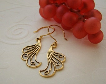 Gold Filigree Earrings Wedding Bride Bridesmaid Mother Sister Wife Christmas Anniversary Gift Elegant Simple -  Harmony