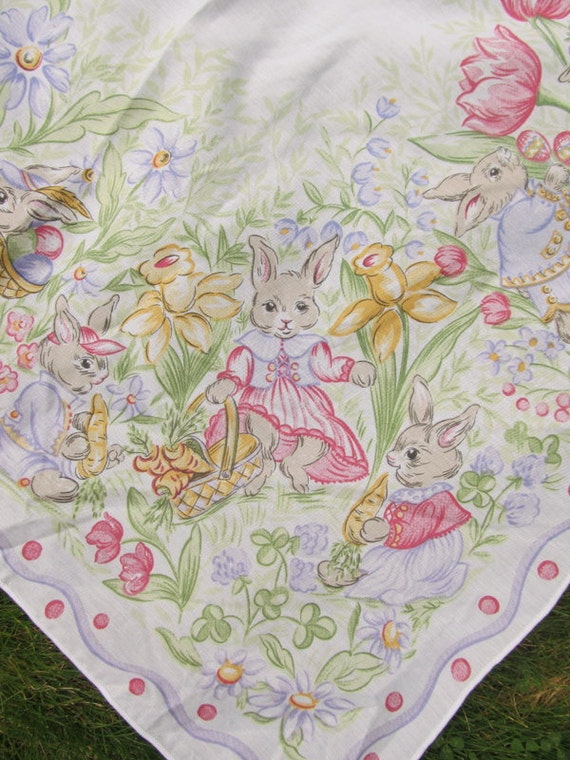 Vintage Easter Tablecloth Easter Bunny By Theweeshelf On