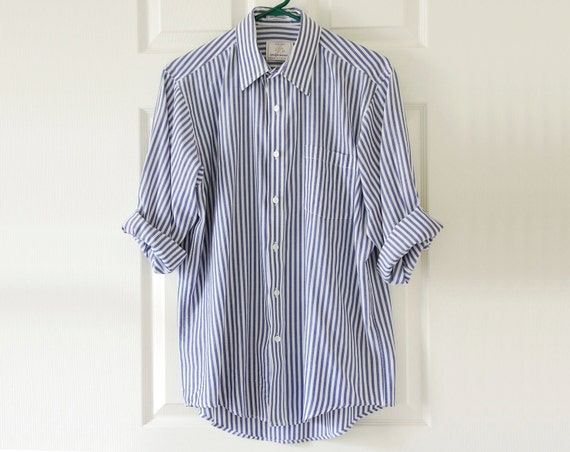 Blue and White Contrast Block Stripe Collar Pocket Shirt