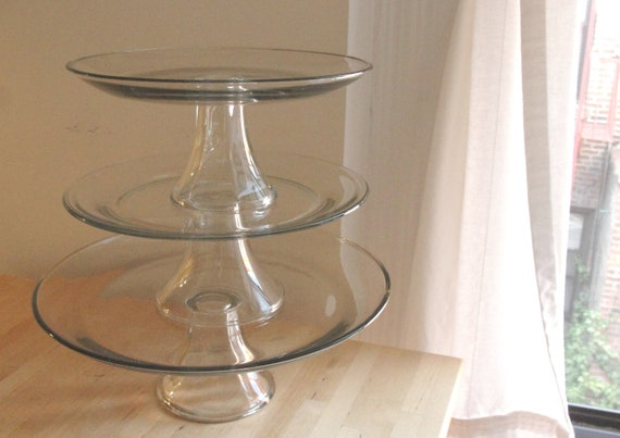 Set of 3 Clear Glass Cake stands