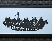 Dahlgren's Raid Civil War Reenactment  - Scherenschnitte - Hand Paper Cutting Art signed and dated By Janet Lynch -8x20 Framed