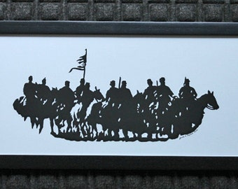 Dahlgren's Raid Civil War Reenactment  - Scherenschnitte - Hand Paper Cutting Art signed and dated By Janet Lynch -10x20 Framed