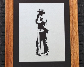 Civil War Confederate Soldier Reloading - Scherenschnitte - Hand Paper Cutting Art signed and dated By Janet Lynch -11x14 Framed