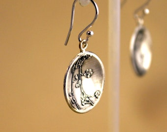 Berry Acid Etched Silver Earrings Handmade