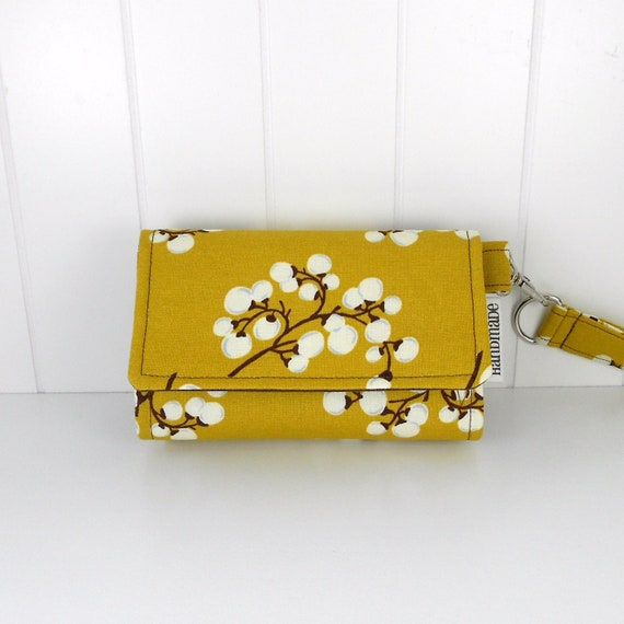 The Errand Runner - Cell Phone Wallet - Wristlet - for iPhone/Android - SALE - Mustard Berries/Brown