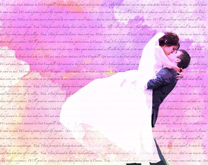 Wedding Anniversary Gift  Song Lyric Wedding Vows Custom Canvas Wall Art 12x16