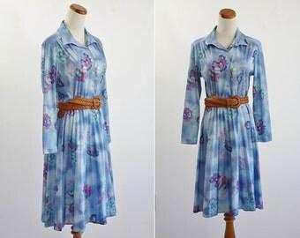 Vintage Secretary Dress -- 70s Blue Floral Shirtwaist -- Medium