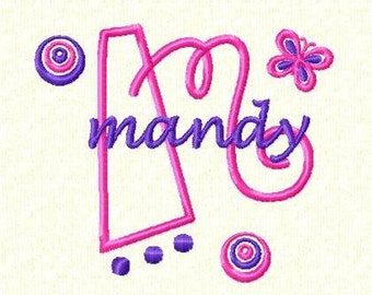 Sweet Curly Dots Monogram Font - Machine Embroidery Designs