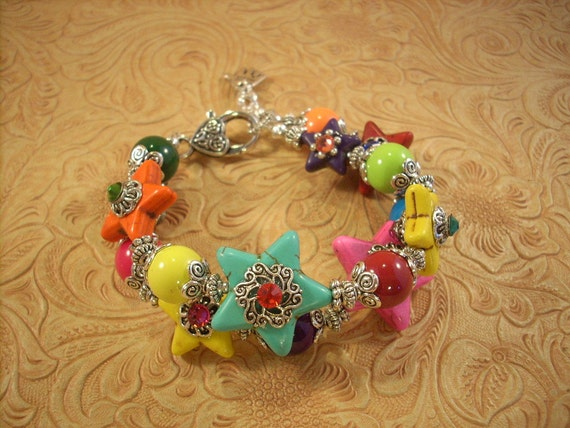 RESERVED Cowgirl Bracelet - Chunky Howlite Turquoise Stars with Multicolored Glass Beads and Crystal