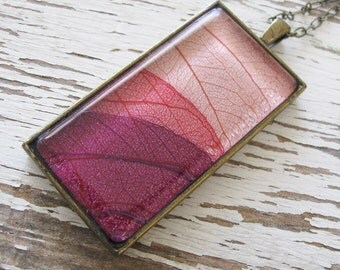 Real Leaf  Necklace - Sunset Rectangle Layered Leaf Necklace in Antique Brass