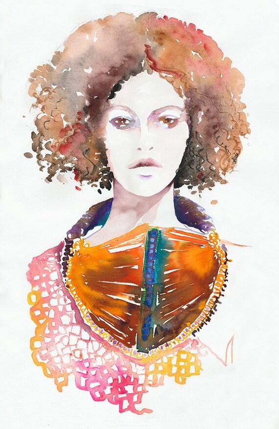 Original Watercolor Painting, Fashion Illustration - Africanink 2