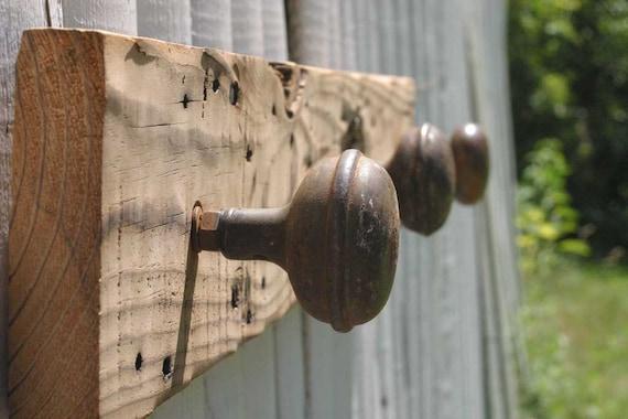 Rustic Barn Wood And Antique Doorknob Coat Rack Reclaimed