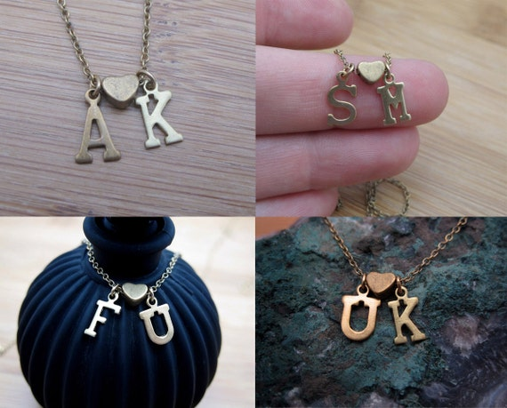 Initial Loves Initial - Custom Loving Letter Charm Necklace - You choose!