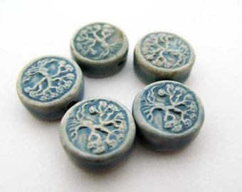 20 Tiny Raku Tree of Life Beads -   - ceramic bead, hand painted, raku beads, peruvian - CB819