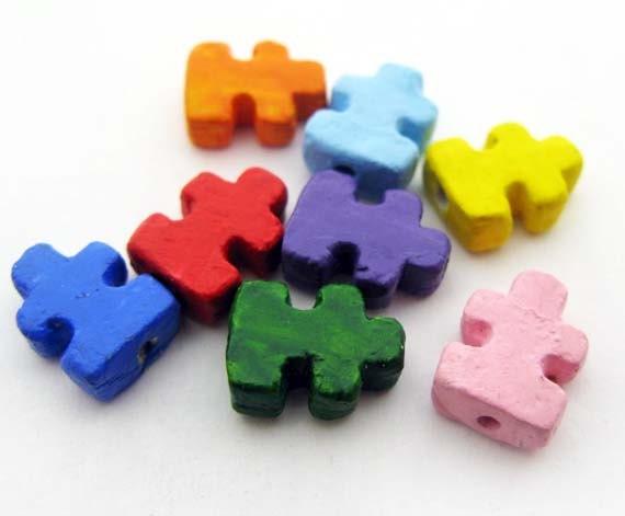 10 Tiny Puzzle Beads - CB904