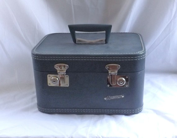 vintage Fly With Me Blue Monarch Train Case Luggage