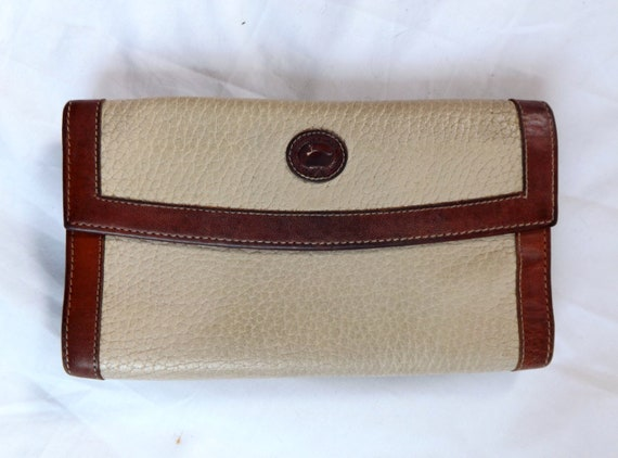 Dooney and Bourke wallet / vintage 1980s Dooney and Bourke Leather Check book Wallet Change Purse