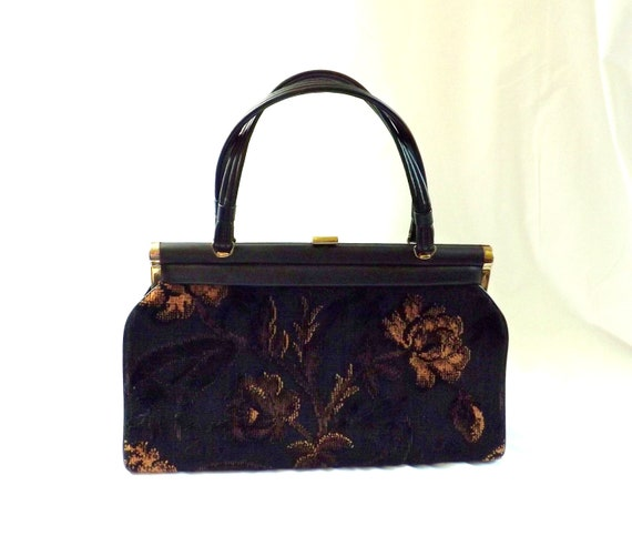 1950s tapestry bag / carpet bag / 50s fabric purse / Autumn Bag