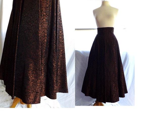 1950s skirt / 50s full circle skirt / vintage 50s black copper circle tea or floor length