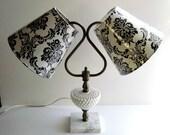 Milk Glass Lamp, Refurbished, Double Arm