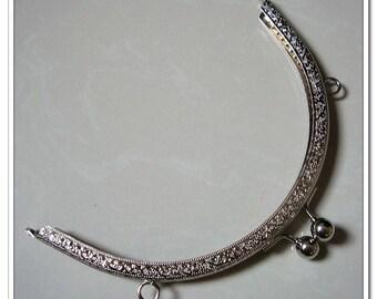 8 inch silver half round purse frame
