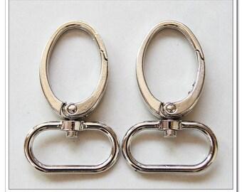 6pcs 1 inch (inside) egg-shape snap hook silver purse hardware