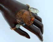 Antiqued Copper circle disc gem stone mix bracelet