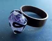 Band Ring In Copper And Sterling Silver With Rough Amethyst Crystal. Size 6.25.